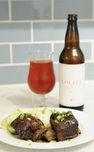 Braised Short Ribs, Cucumber Salad, and Goose Island Lolita