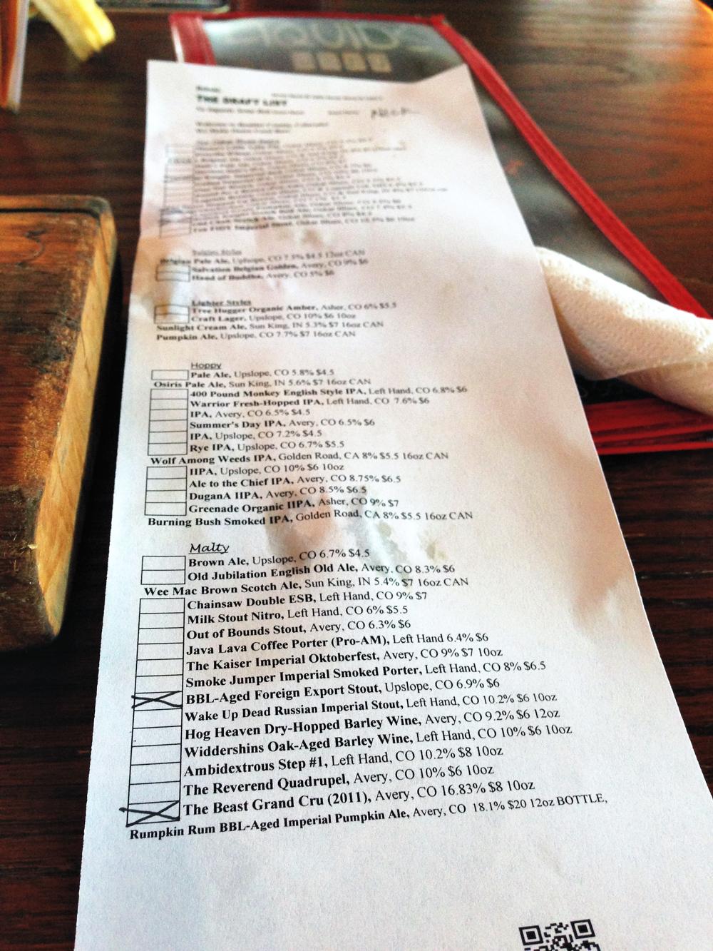 Beer list at Oscar Blues in Longmont