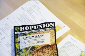 Hop Union Czech Saaz leaf hops packaged in one ounce nitrogen purged opaque bags.