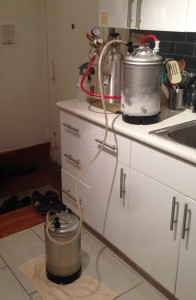 Utilizing C02 and a jumper line to transfer beer keg to keg during the freeze-concentration.