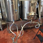 Lauter set-up to transfer wort from the mash tun to boil kettle.