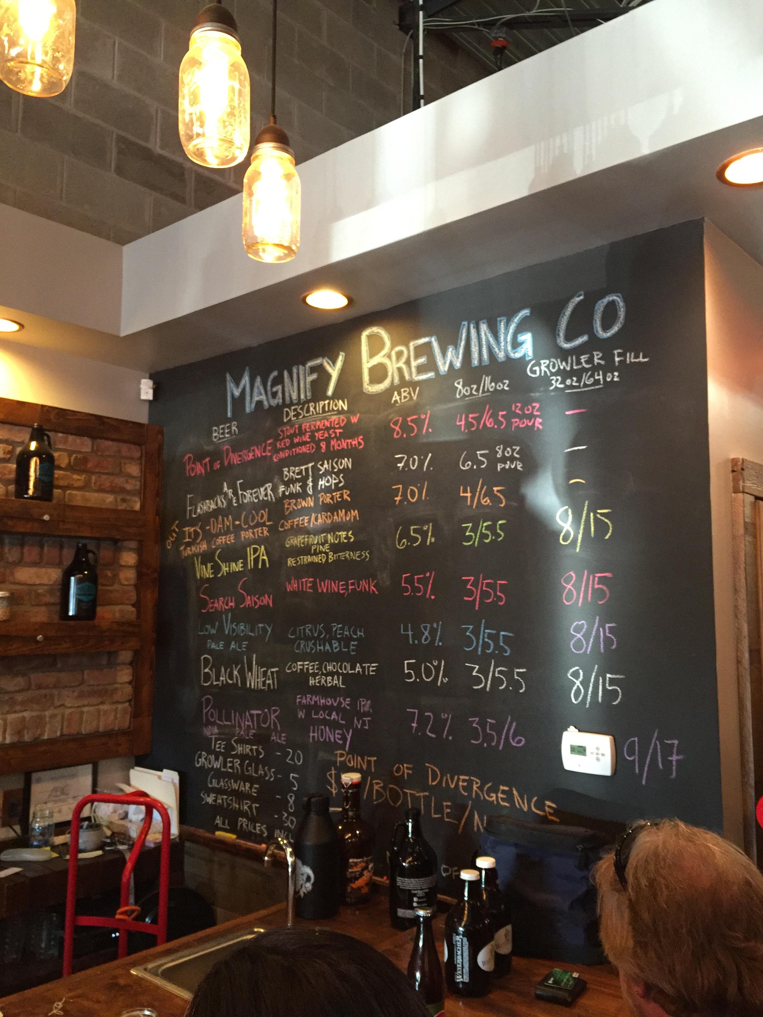 Magnify Brewing Co. Taplist